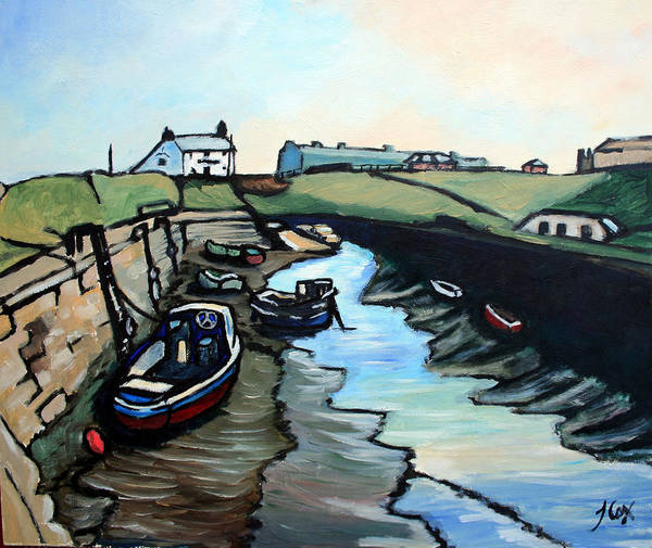 Seascape Poster featuring the painting Seaton Sluice Harbour by John Cox