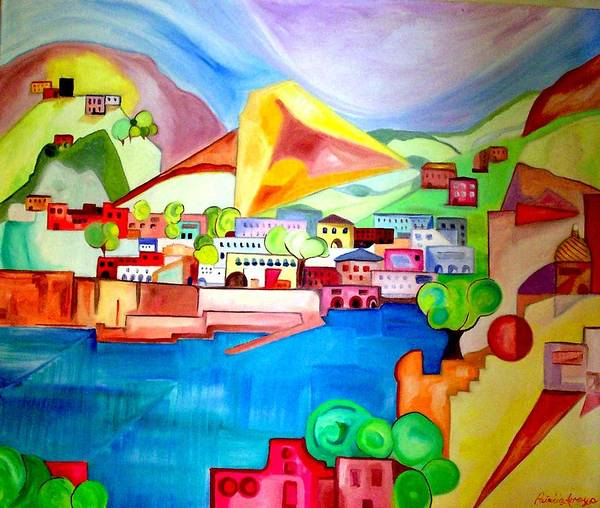 Abstract Poster featuring the painting Sorrento by Patricia Arroyo