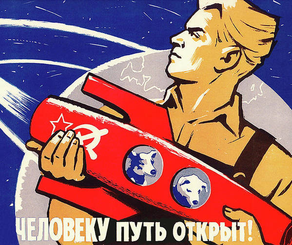 ccc35d2f9ff Soviet Propaganda Poster featuring the painting Soviet Propaganda From Space  Race Era by Long Shot