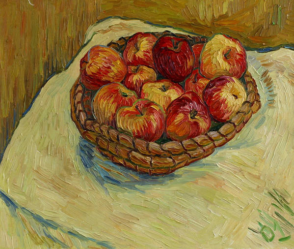 Still Life Poster featuring the painting Still Life With Moravian Apples by Vitali Komarov