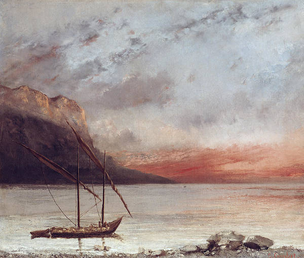 Sunset Poster featuring the painting Sunset Over Lake Leman by Gustave Courbet