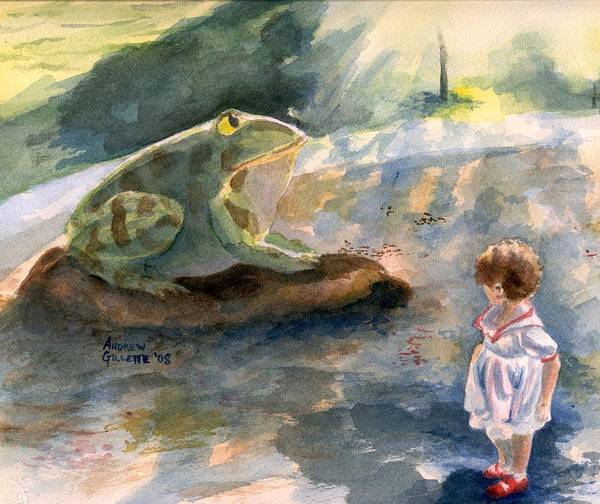 Child Poster featuring the painting The Magical Giant Frog by Andrew Gillette