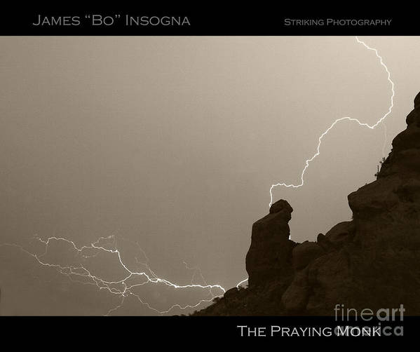 Praying Monk Poster featuring the photograph The Praying Monk Camelback Mountain by James BO Insogna