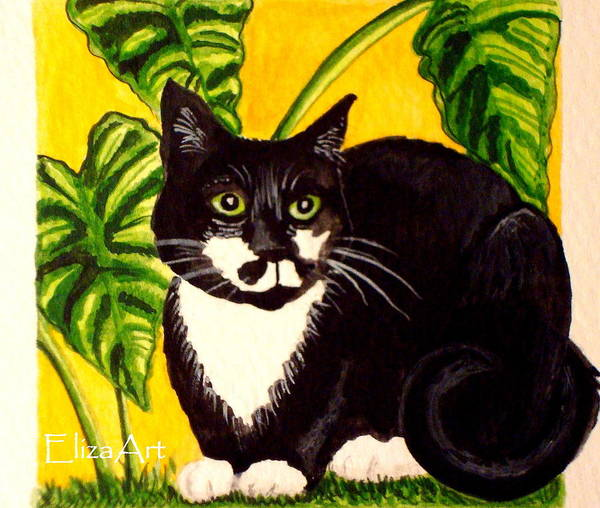 Watercolor Poster featuring the painting The Tropical Cat by Elizabeth Robinette Tyndall