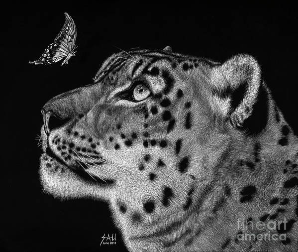 Snow Leopard Poster featuring the drawing Will You Be My Friend by Sheryl Unwin