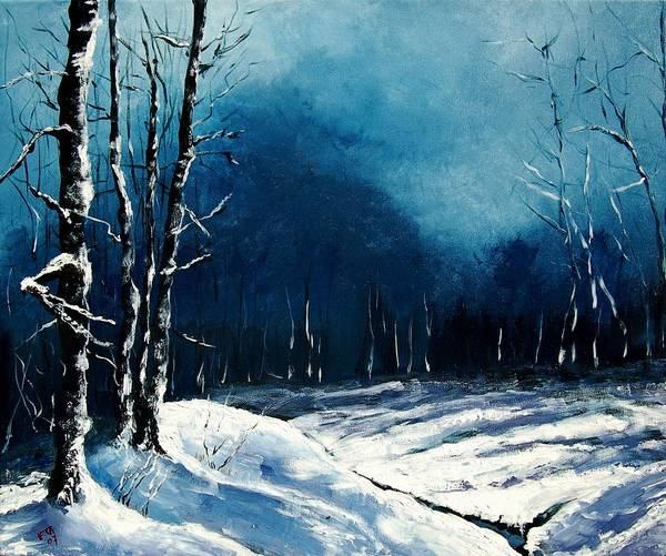 Landscape Poster featuring the painting Winter Landscape by Veronique Radelet