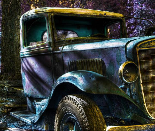 Digital Fantasy Poster featuring the photograph Wrecking Yard Fantasy by Lee Santa
