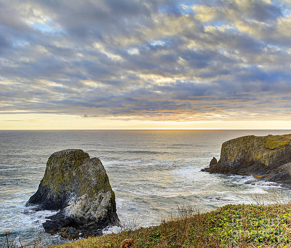 Beach Poster featuring the photograph Oregon Coast Day Ending by Marv Vandehey