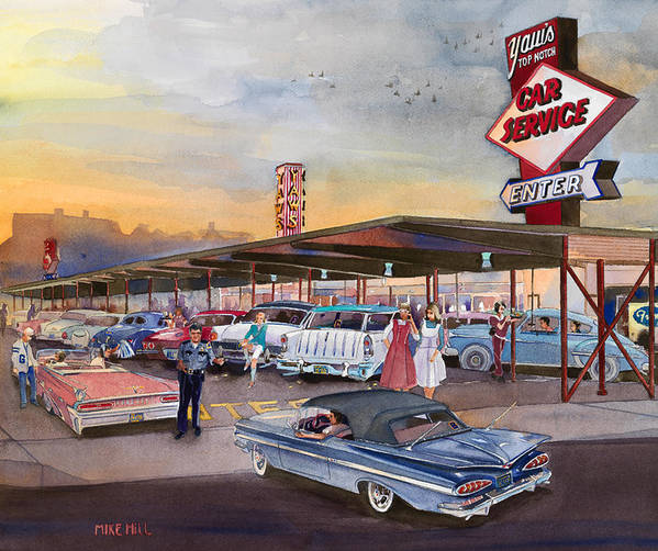 Yaw's Drive-in Restaurant Tootsie Roll Cop Bob Svilar Car Hops Chevy Pontiac Oldsmobile Nomad Ford Grant High School Portland Oregon French Fries Gravy Green River Top Notch Burger Policeman Robert Football Basketball Sports Rock And Roll Poster featuring the painting Yaw's Top Notch Drive In by Mike Hill