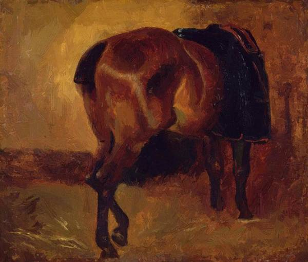 Study Poster featuring the painting Study For Bay Horse Seen From Behind by Gericault Theodore