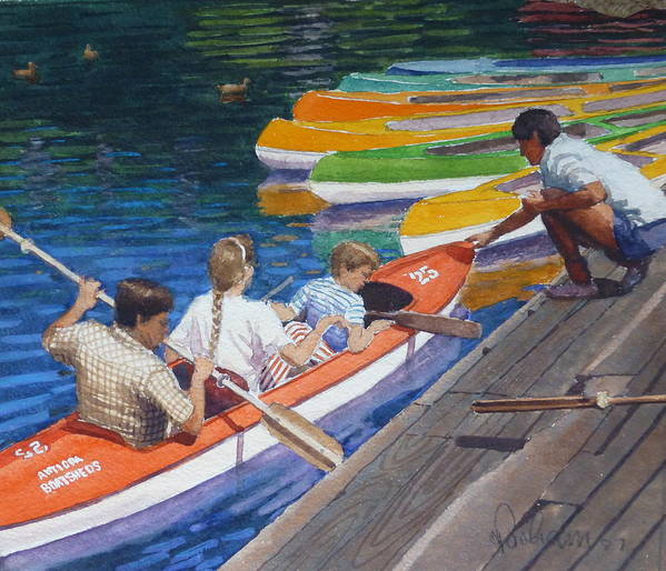Boats Poster featuring the painting Avon Christchurch Nz. by Terry Perham