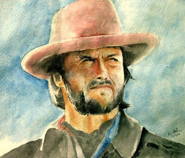 Clint Eastwood Poster featuring the painting Clint Eastwood by Nitesh Kumar