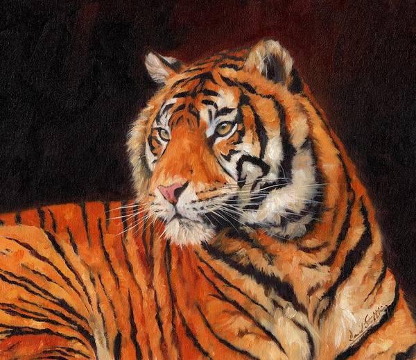 Tiger Poster featuring the painting Sumatran Tiger by David Stribbling