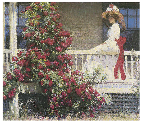 Philip Leslie Hale Poster featuring the painting The Crimson Rambler by Philip Leslie Hale