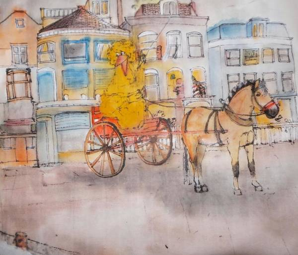 The Netherlands. Cityscape. Yellow Bird. Equine Poster featuring the painting Inge Again Album by Debbi Saccomanno Chan
