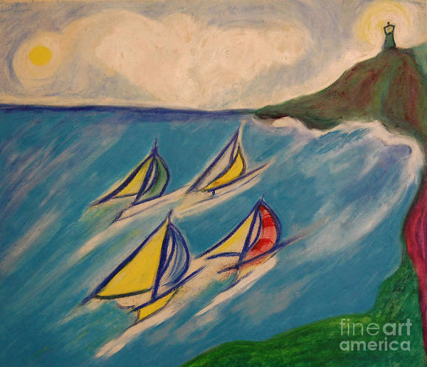 First Star Art Poster featuring the painting Afternoon Regatta By Jrr by First Star Art