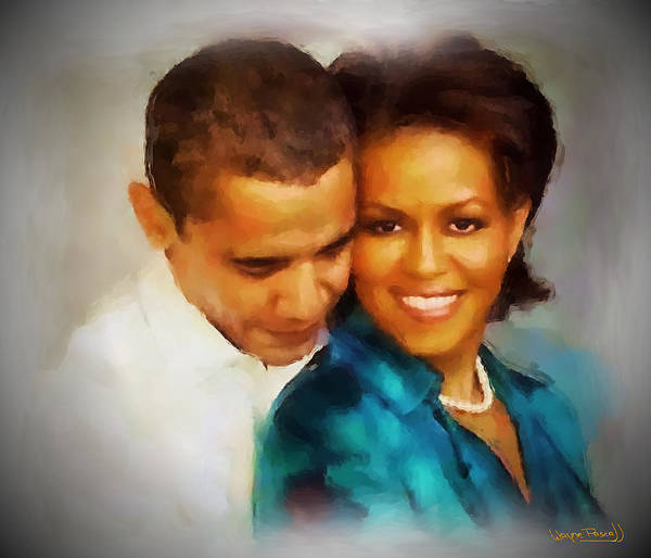 Barack Obama Poster featuring the painting Barack And Michelle by Wayne Pascall
