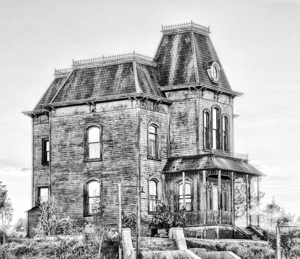 Bates Motel Poster featuring the photograph Bates Motel Haunted House Black And White by Paul W Sharpe Aka Wizard of Wonders