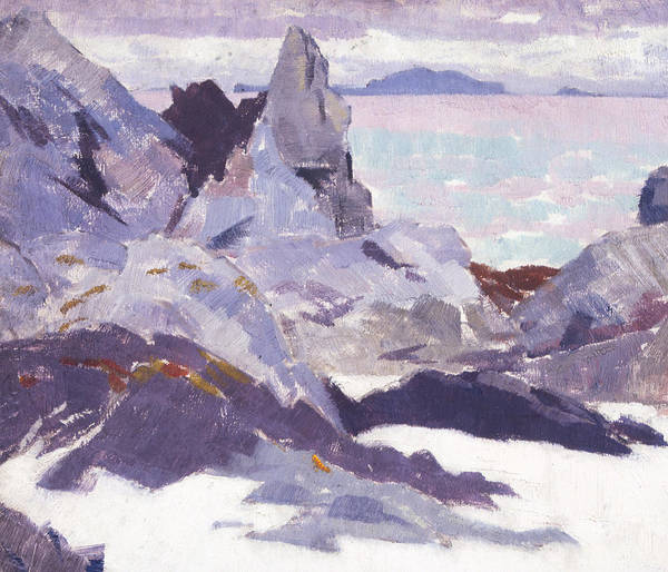 Cadell Poster featuring the painting Cathedral Rock Iona by Francis Campbell Boileau Cadell