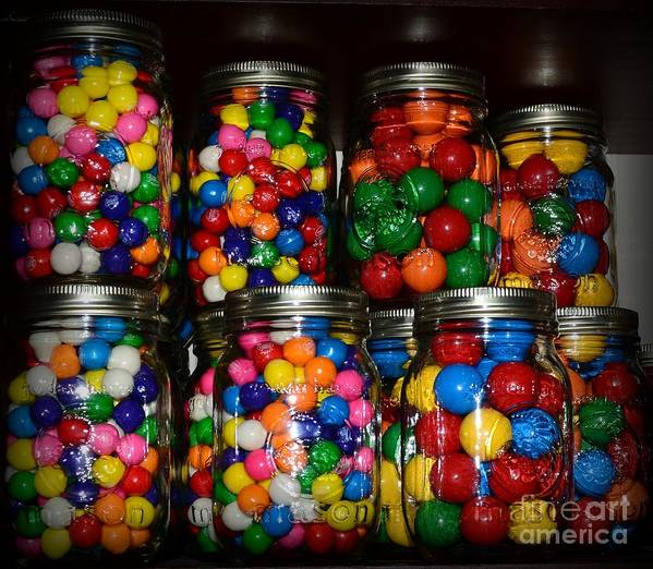 Paul Ward Poster featuring the photograph Colorful Gumballs by Paul Ward