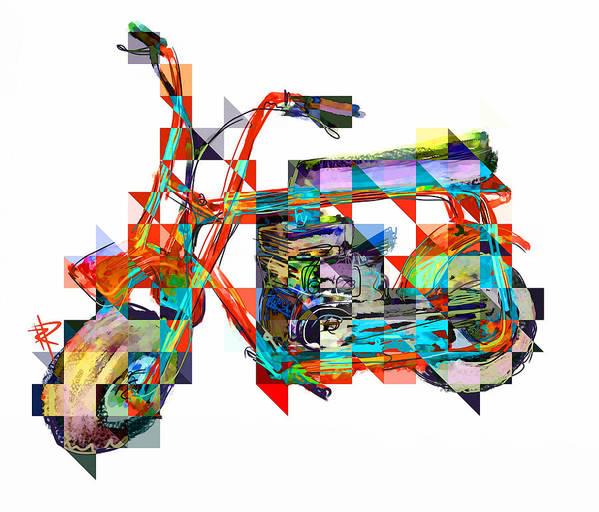 Minibike Poster featuring the digital art Cubist Mini Bike by Russell Pierce