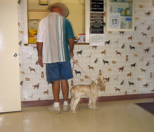 Dog Owner Dog Vet's Office Casa Grande Arizona 2004 Poster featuring the photograph Dog Owner Dog Vet's Office Casa Grande Arizona 2004 by David Lee Guss