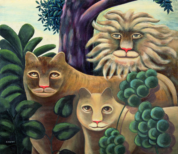 Lion; Lioness; Cub; Family Poster featuring the painting Family Portrait by Jerzy Marek
