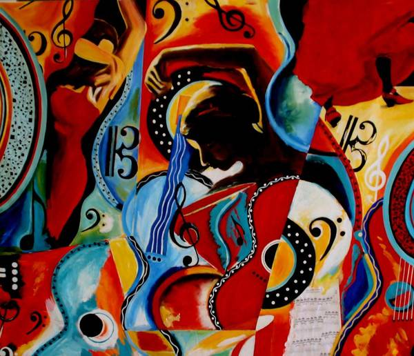 Bright Poster featuring the painting Flamenco by Vel Verrept
