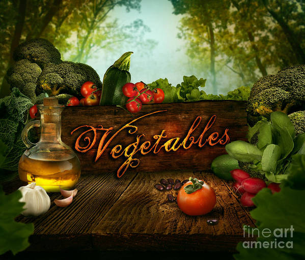 Spring Poster featuring the digital art Food Design - Fresh Vegetables In Celery Forest by Mythja Photography