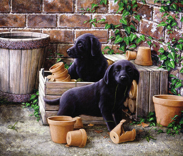 Dog Paintings Poster featuring the painting Gardeners Corner by John Silver