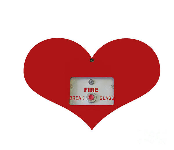 Fire Poster featuring the photograph Heart Symbol With Emergency Button by Image World