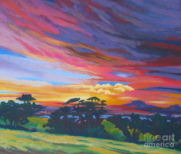 Amador Poster featuring the painting Looking West From Amador Hills by Vanessa Hadady BFA MA