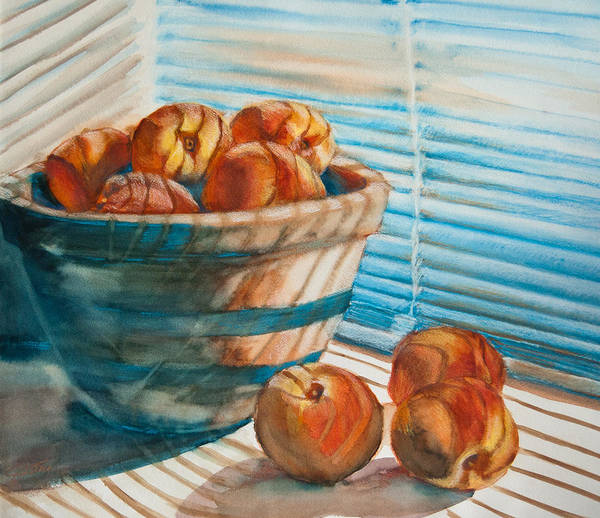 Peaches Poster featuring the painting Many Blind Peaches by Jani Freimann