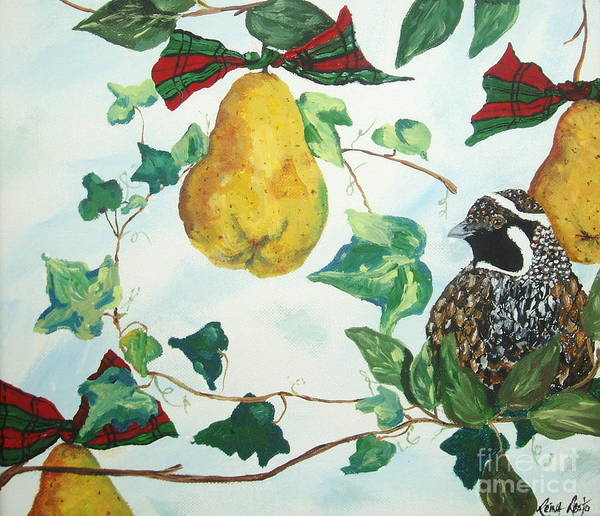 Tree Poster featuring the painting Partridge And Pears by Reina Resto