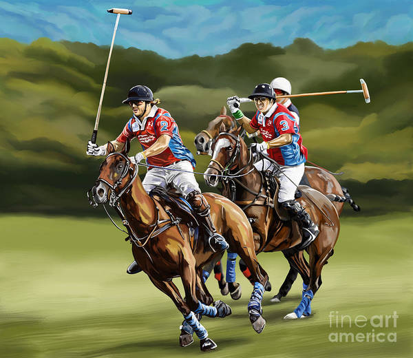 de61702b75be Polo Poster featuring the painting Polo Game Horses by Tim Gilliland