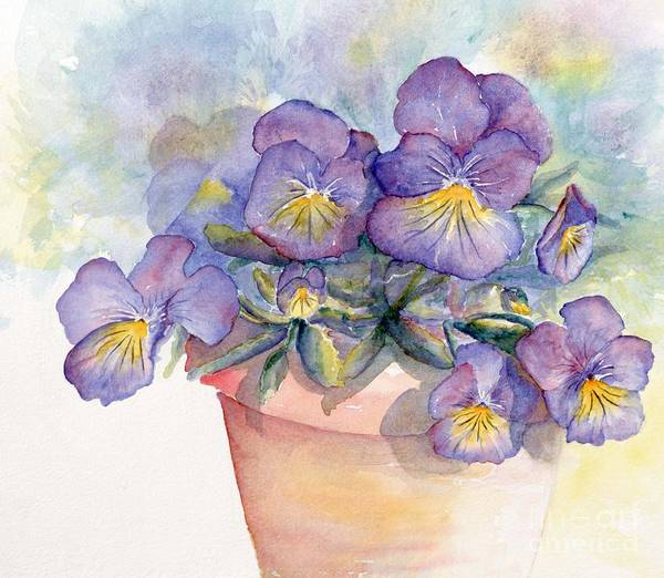 Pansy Poster featuring the painting Purple Pansies by CheyAnne Sexton
