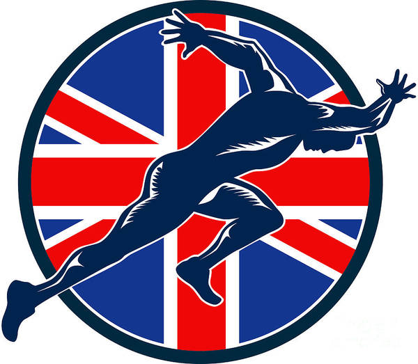 Athlete Poster featuring the digital art Runner Sprinter Start British Flag Circle by Aloysius Patrimonio