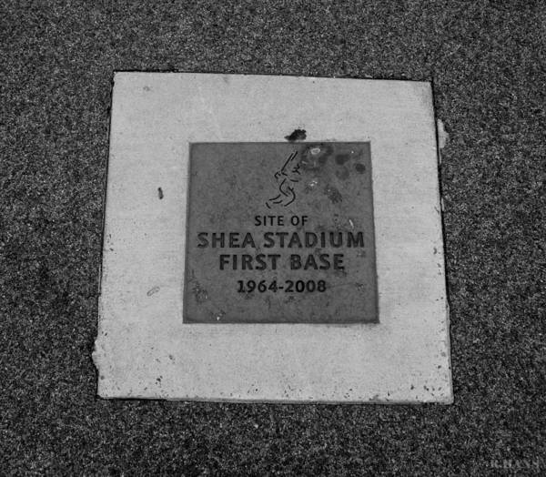 Shea Stadium Poster featuring the photograph Shea Stadium First Base In Black And White by Rob Hans