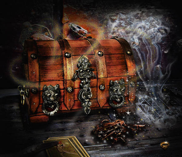 Coffer Poster featuring the digital art The Coffer Of Spells by Alessandro Della Pietra