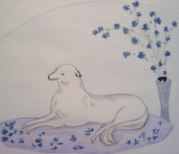 Dog Poster featuring the drawing The Lap Of Luxury by Christine Corretti