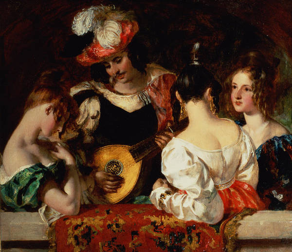 Male Poster featuring the painting The Lute Player by William Etty