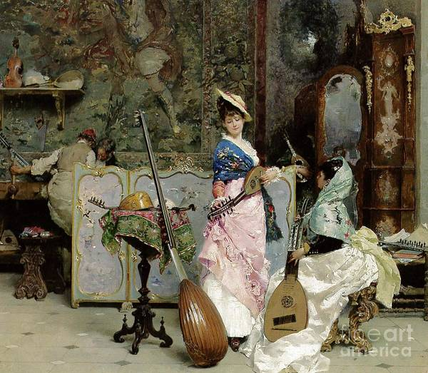 Music Poster featuring the painting The Mandolin Shop by Vincenzo Capobianchi