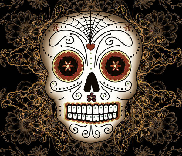Vintage Poster featuring the drawing Vintage Sugar Skull by Tammy Wetzel