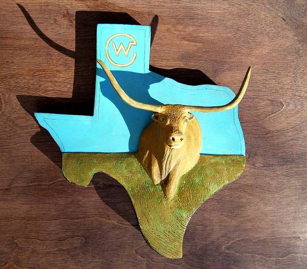 Longhorn Poster featuring the sculpture Woodcrafted Home On The Range by Michael Pasko