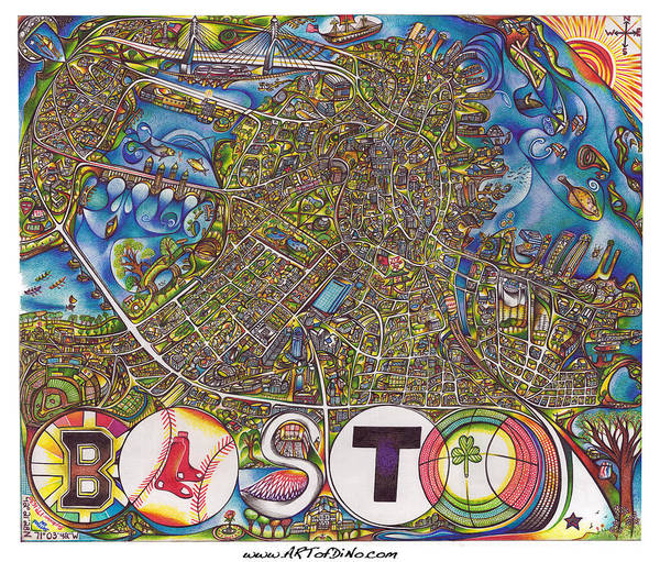 Boston Poster featuring the drawing Boston Art Map by Jonathan 'DiNo' DiNapoli