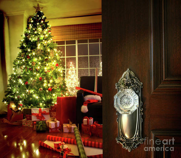 Background Poster featuring the photograph Door Opening Into A Christmas Living Room by Sandra Cunningham