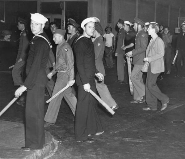 History Poster featuring the photograph During Zoot Suit Riot, Los Angeles by Everett
