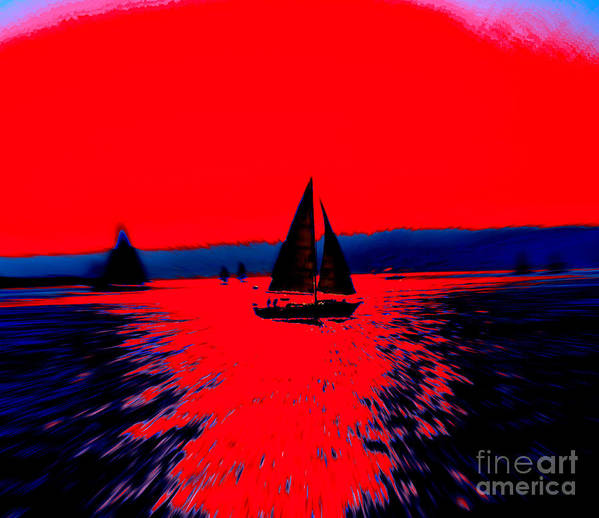 Sailing San Diego Bay Digital Photo Abstract Bold Contrast Red Blue Sailboats Poster featuring the photograph Freedom by RJ Aguilar