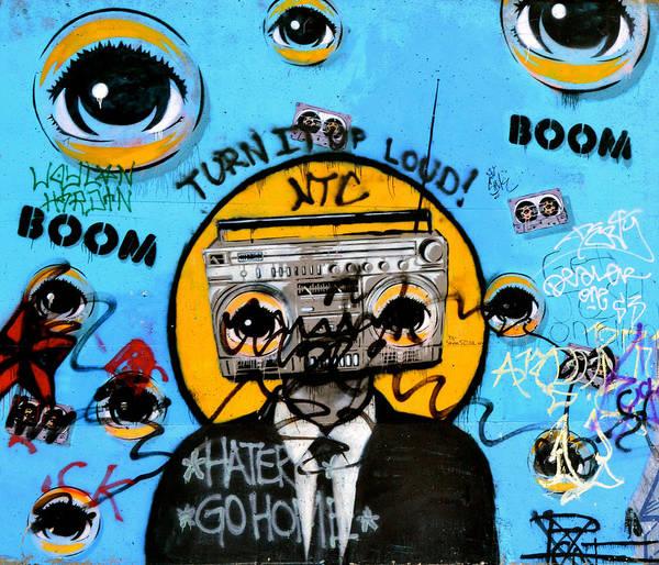 Graffiti Poster featuring the photograph Graffiti Boombox Man by Emilie Sullivan