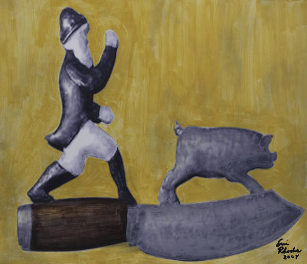 Pig Poster featuring the painting Pig Chasing by Eric Rhodes